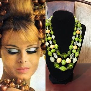 Vtg 1950s W Germany Lucite Triple Strand Necklace